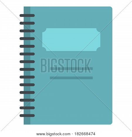 Blue closed spiral notebook icon flat isolated on white background vector illustration
