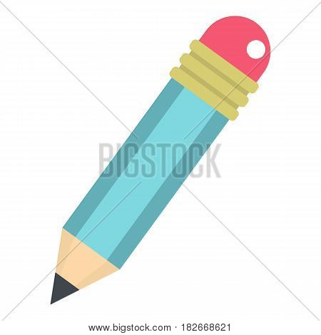 Blue sharpened pencil with eraser icon flat isolated on white background vector illustration