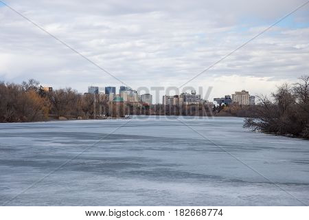 View of downtown Regina Saskatchewan from the shore of Wascana Lake.
