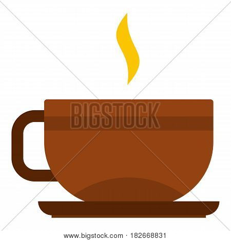 Brown tea cup and saucer icon flat isolated on white background vector illustration