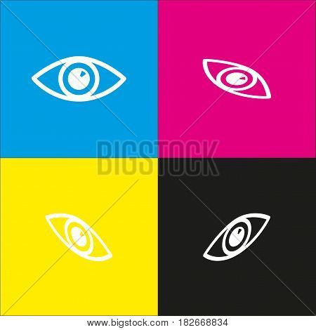 Eye sign illustration. Vector. White icon with isometric projections on cyan, magenta, yellow and black backgrounds.