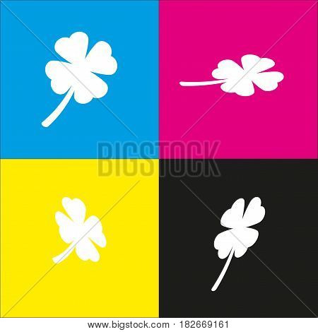 Leaf clover sign. Vector. White icon with isometric projections on cyan, magenta, yellow and black backgrounds.