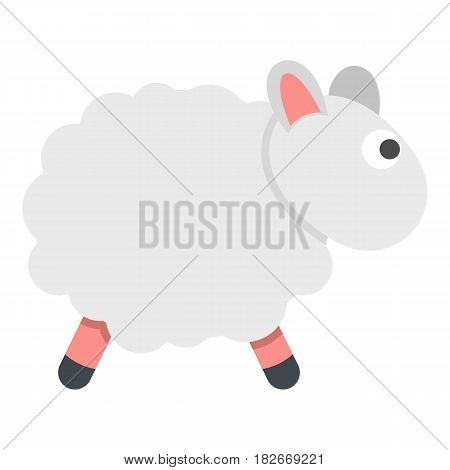White sheep icon flat isolated on white background vector illustration