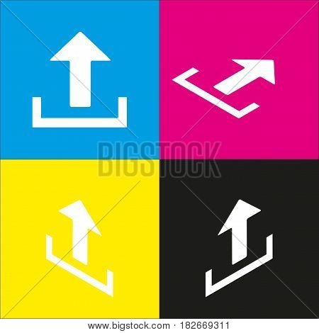 Upload sign illustration. Vector. White icon with isometric projections on cyan, magenta, yellow and black backgrounds.