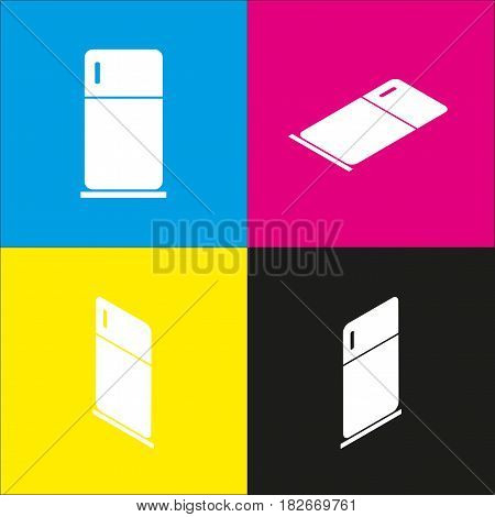 Refrigerator sign illustration. Vector. White icon with isometric projections on cyan, magenta, yellow and black backgrounds.