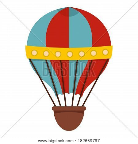 Red and blue hot air striped balloon icon flat isolated on white background vector illustration