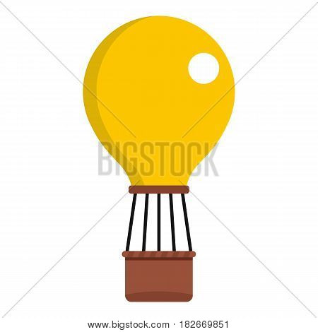 Yellow air balloon icon flat isolated on white background vector illustration
