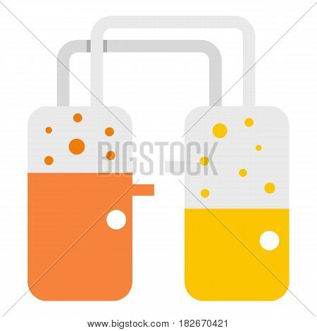 Transparent laboratory reservoirs with liquid icon flat isolated on white background vector illustration