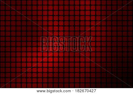Deep burgundy red vector abstract mosaic background with rounded corners square tiles over black