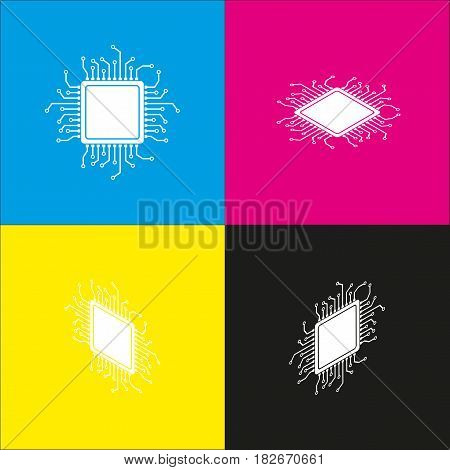 CPU Microprocessor illustration. Vector. White icon with isometric projections on cyan, magenta, yellow and black backgrounds.