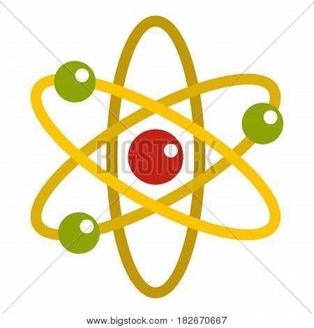 Nucleus and orbiting electrons icon flat isolated on white background vector illustration