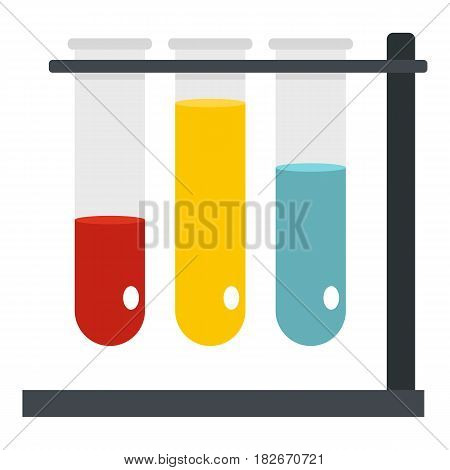 Medical test tubes in holder icon flat isolated on white background vector illustration