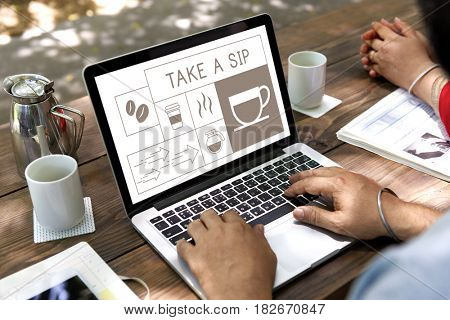 Illustration of coffee shop advertisement on digital tablet