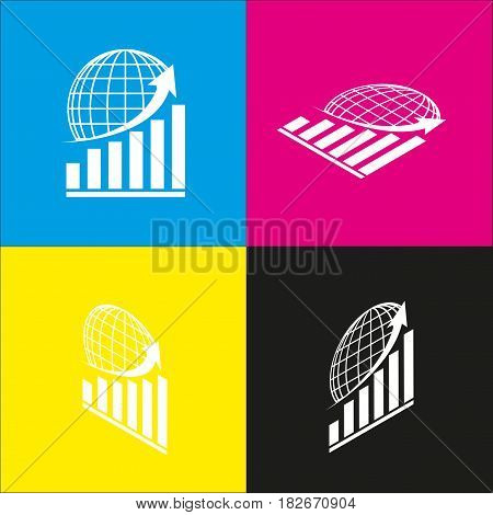Growing graph with earth. Vector. White icon with isometric projections on cyan, magenta, yellow and black backgrounds.