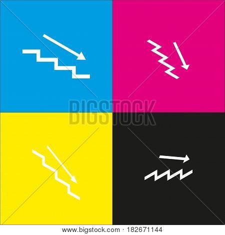 Stair down with arrow. Vector. White icon with isometric projections on cyan, magenta, yellow and black backgrounds.