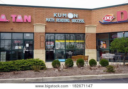 BOLINGBROOK, ILLINOIS / UNITED STATES - APRIL 14, 2017: The Kumon Academy offers after school learning for children in the Concord Plaza in Bolingbrook.