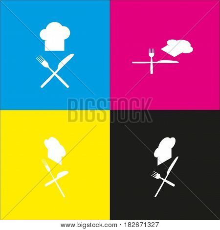 Chef with knife and fork sign. Vector. White icon with isometric projections on cyan, magenta, yellow and black backgrounds.