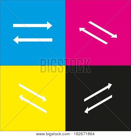 Arrow simple sign. Vector. White icon with isometric projections on cyan, magenta, yellow and black backgrounds.