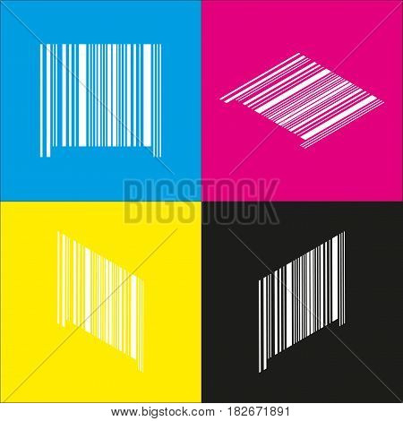 Bar code sign. Vector. White icon with isometric projections on cyan, magenta, yellow and black backgrounds.