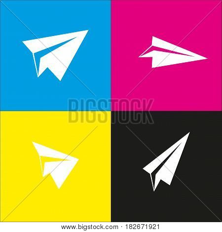 Paper airplane sign. Vector. White icon with isometric projections on cyan, magenta, yellow and black backgrounds.