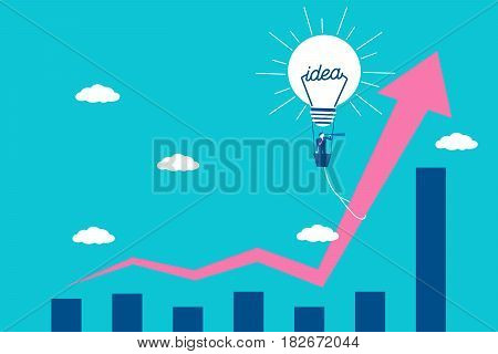businessman with growth concept on blue background