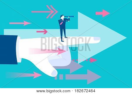 businessman with leadership concept on blue background