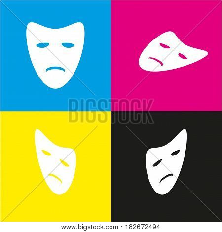 Tragedy theatrical masks. Vector. White icon with isometric projections on cyan, magenta, yellow and black backgrounds.