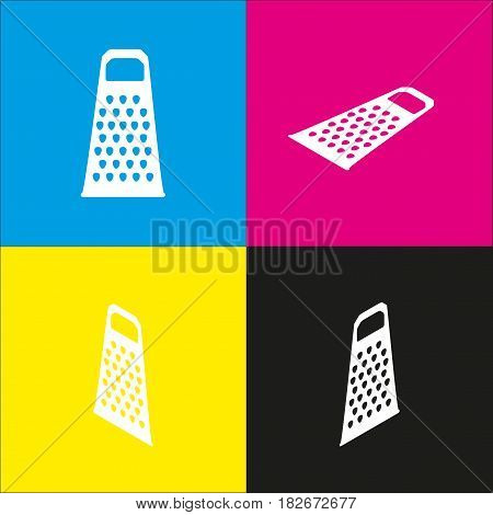 Cheese grater sign. Vector. White icon with isometric projections on cyan, magenta, yellow and black backgrounds.
