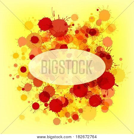 Bright red and orange vector artistic watercolor paint drops on yellow background. Greeting card or invitation template with semi-transparent ellipse frame for text