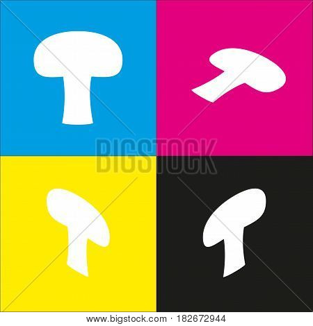 Mushroom simple sign. Vector. White icon with isometric projections on cyan, magenta, yellow and black backgrounds.