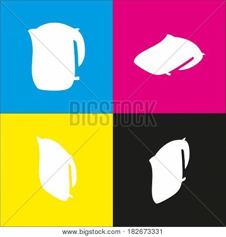 Electric kettle sign. Vector. White icon with isometric projections on cyan, magenta, yellow and black backgrounds.