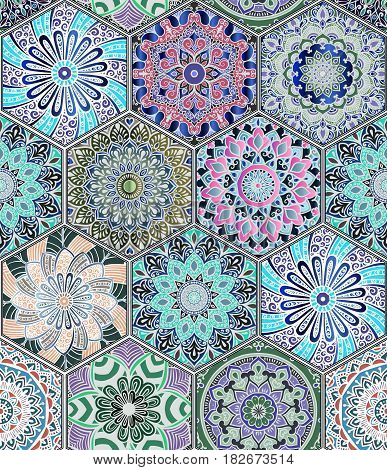 Oriental seamless pattern in style of colorful floral patchwork boho chic with mandala in hexagon elements