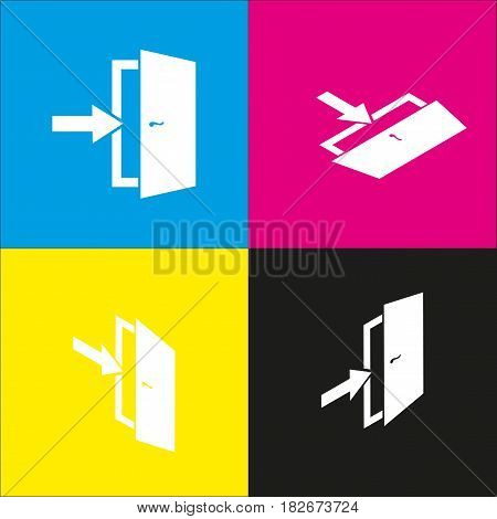 Door Exit sign. Vector. White icon with isometric projections on cyan, magenta, yellow and black backgrounds.