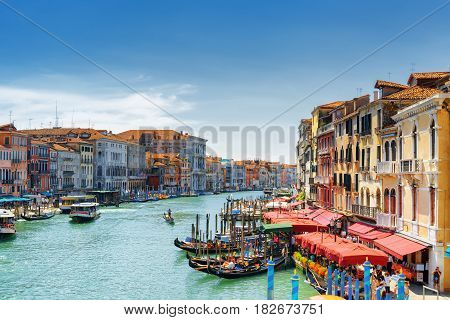 View Of The Grand Canal From The Rialto Bridge. Venice, Italy