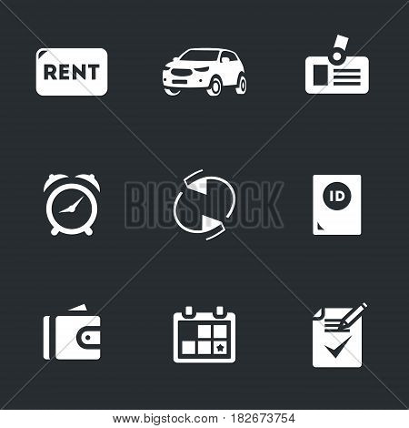 Sign, auto, badge, time, refund, passport, purse, calendar, contract.