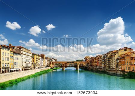 Medieval Bridge Ponte Vecchio And The Arno River In Florence