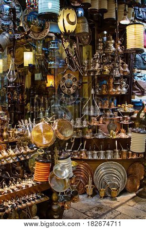 Souvenirs store at Grand bazaar in Istanbul vertical view