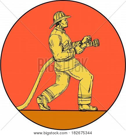 Drawing sketch style illustration of a fireman fire fighter emergency worker holding fire hose viewed from the side set inside circle on isolated background.
