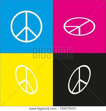 Peace sign illustration. Vector. White icon with isometric projections on cyan, magenta, yellow and black backgrounds.