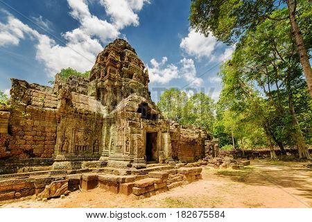 Side View Of Ancient Gopura At Ta Som Temple In Angkor, Cambodia