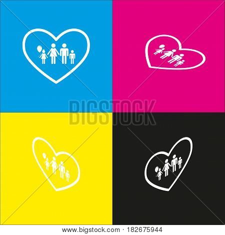Family sign illustration in heart shape. Vector. White icon with isometric projections on cyan, magenta, yellow and black backgrounds.