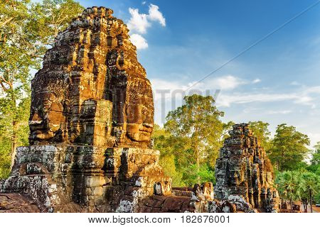 Ancient Face-towers Of Bayon Temple In Angkor Thom, Cambodia