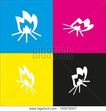 Fire sign. Vector. White icon with isometric projections on cyan, magenta, yellow and black backgrounds.