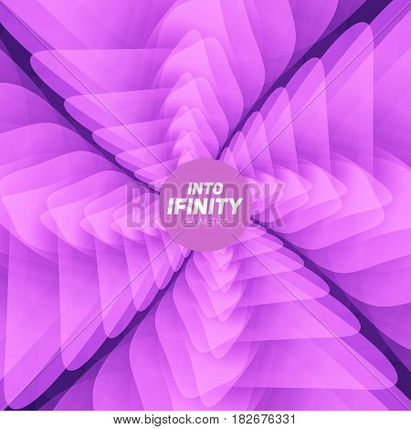 Into Infinity geometry. Abstract geometrical concentric violet swirl background. Sea shell like structures. Fractal swirl background. Concentric wrapping geometry. Colorful lollipop.