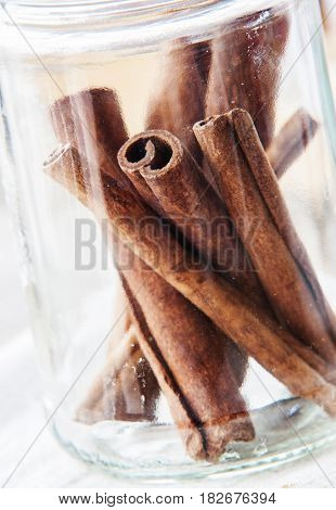 cinnamon close up on white background spices