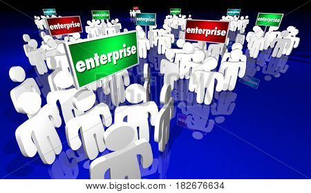 Enterprise Companies Businesses Employees Around Signs 3d Illustration