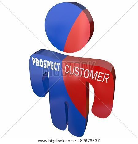 Prospect Conversion to Customer Person 3d Illustration