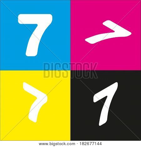 Number 7 sign design template element. Vector. White icon with isometric projections on cyan, magenta, yellow and black backgrounds.