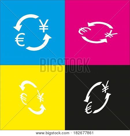 Currency exchange sign. Euro and Japan Yen. Vector. White icon with isometric projections on cyan, magenta, yellow and black backgrounds.