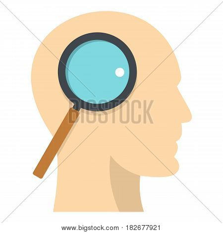 Profile of the head with magnifying glass icon flat isolated on white background vector illustration